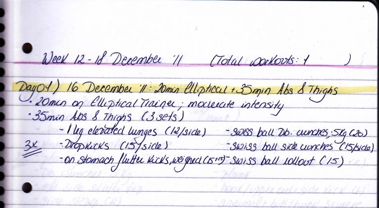 workout log, week:13-18 Dec.'11