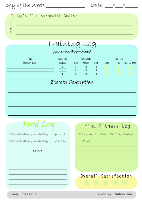 Free Daily Printable Fitness Logs
