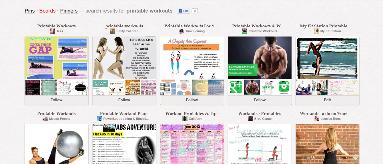 pinterest printable workout boards