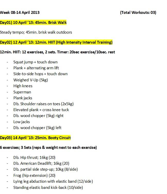 workout log 8-14 April 2013