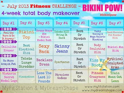 4 week total body makeover: Bikini POW Workout Calendar