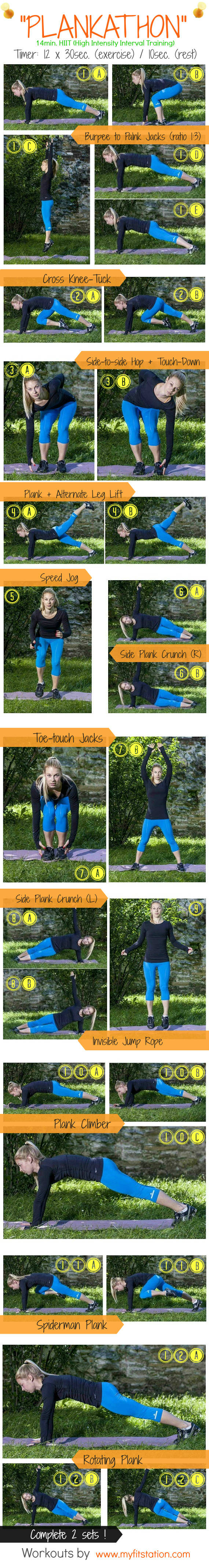 Plankathon HIIT workout infographic