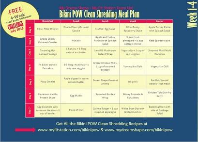 4 week total body makeover: shredding meal plan