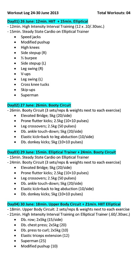 workout log 24-30 June 2013
