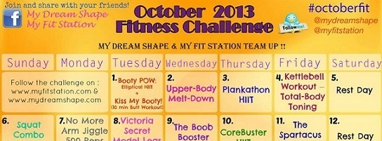 October Fitness Challenge workout calendar