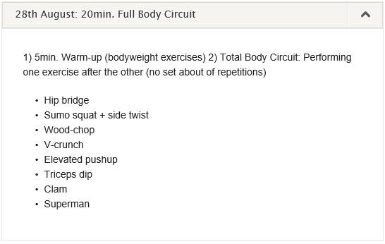 workout log 16 August - 01 September 2013
