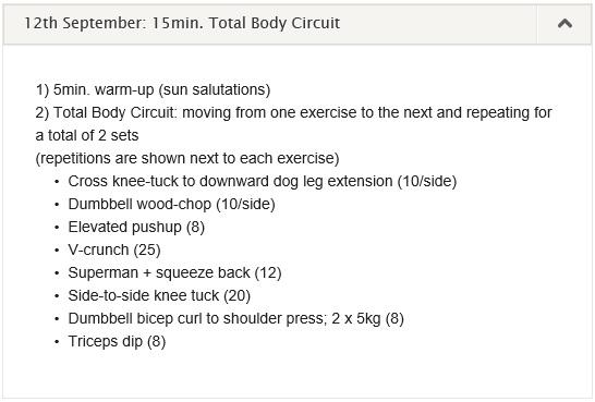 workout log 9-15 September 2013