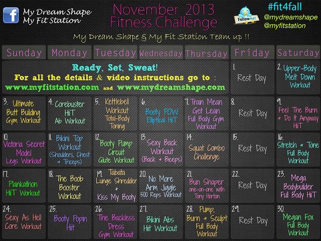 November Fitness Challenge: 30 day workout calendar