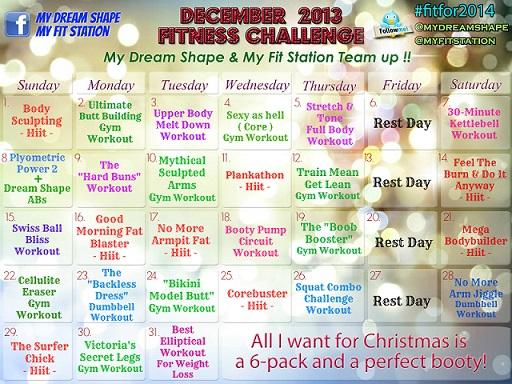 December Fitness Challenge 31 days Workout Calendar