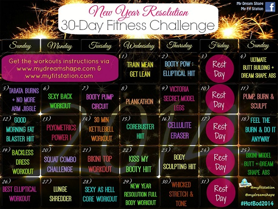 New Year's Resolution Fitness Challenge - January workout calendar