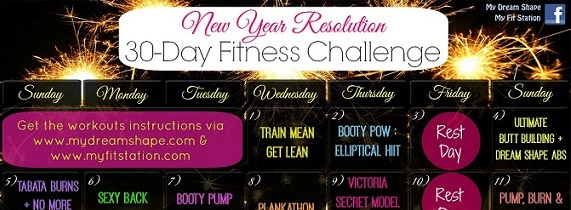 featured New Year's Resolution Fitness Challenge - January workout calendar