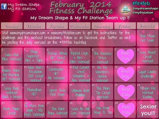 February Fitness Challenge: Workout Calendar