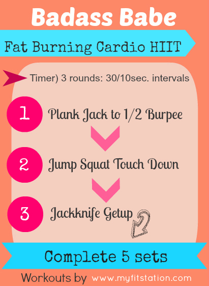 Printable Badass Babe - Fat Burning Cardio HIIT Workout