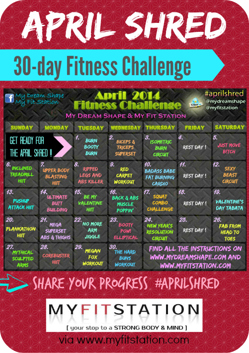 30-day Shred: April Fitness Challenge ! | My Fit Station