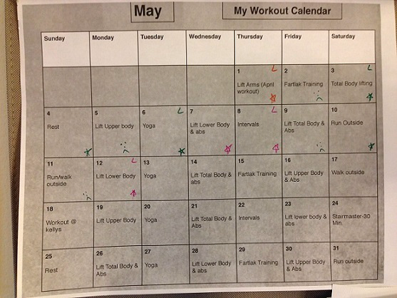 Andrea's Training Program - Workout Calendar