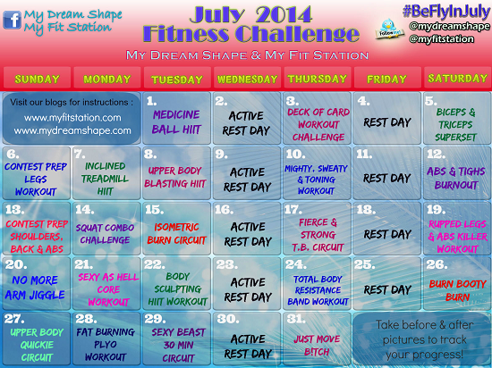 July Fitness Challenge workout calendar preview