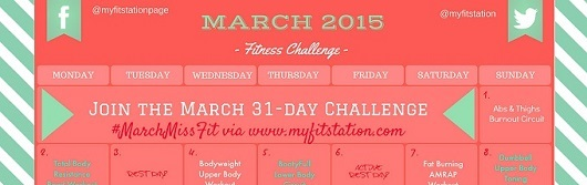 featured 2015 March Fitness Challenge - 31-day Workout Calendar