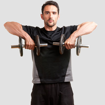 Bicep curls, triceps extension, shoulder upright row